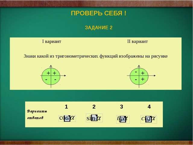 ПРОВЕРЬ СЕБЯ ! ЗАДАНИЕ 2 - - + + + - - + Iвариант IIвариант Знаки какой из т...