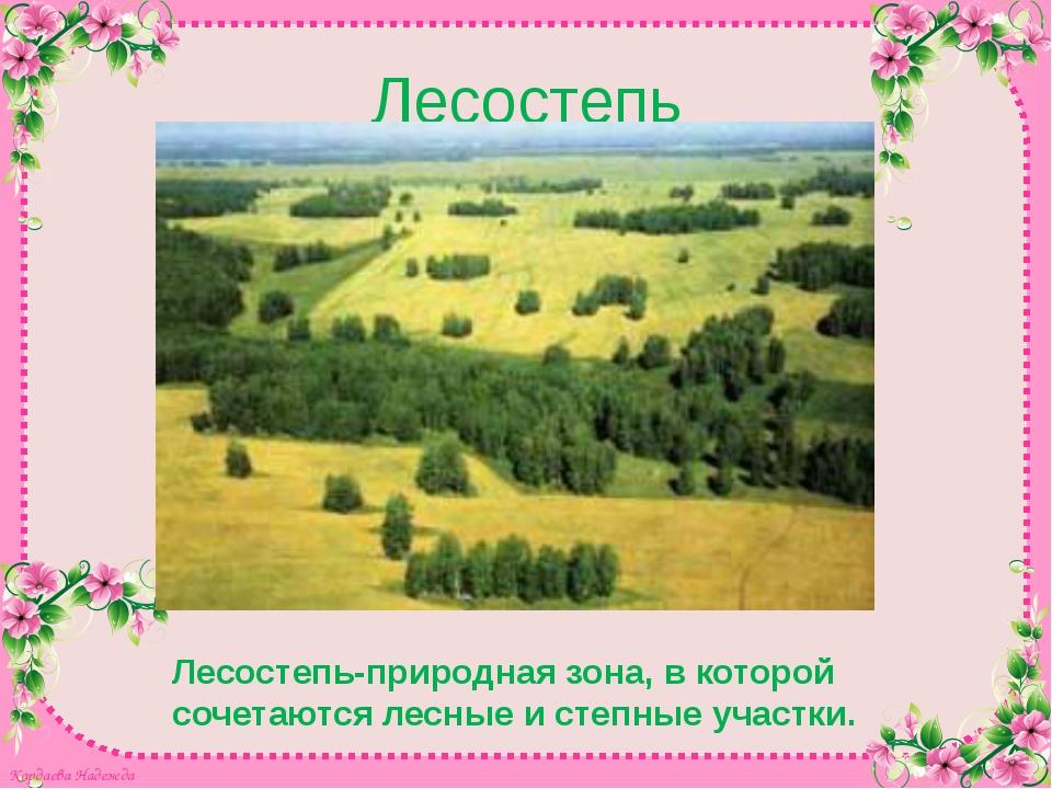 Лесостепь Лесостепь-природная зона, в которой сочетаются лесные и степные уча...