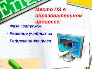 Место ПЗ в образовательном процессе: Фаза «запуска» Решение учебных задач Реф