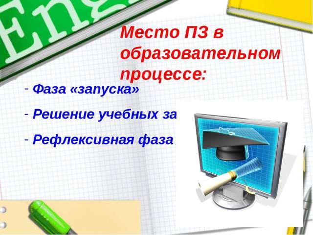 Место ПЗ в образовательном процессе: Фаза «запуска» Решение учебных задач Реф...