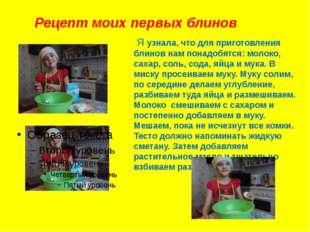 Рецепт моих первых блинов Я узнала, что для приготовления блинов нам понадобя
