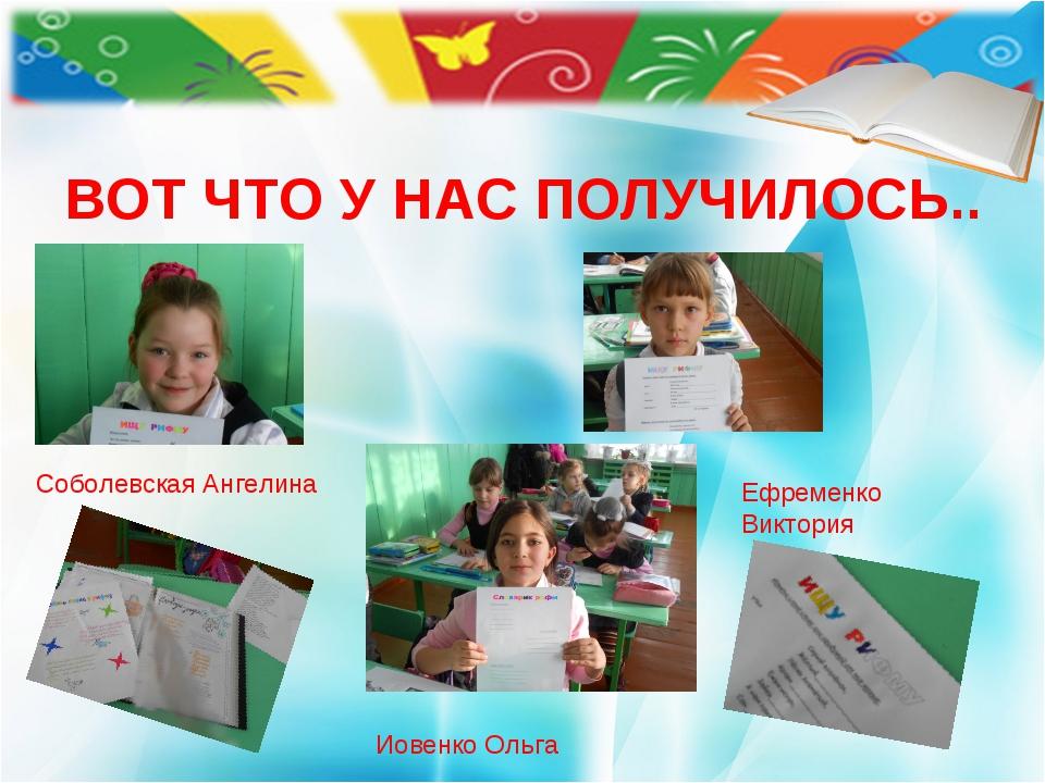 ВОТ ЧТО У НАС ПОЛУЧИЛОСЬ.. Соболевская Ангелина Ефременко Виктория Иовенко Ол...