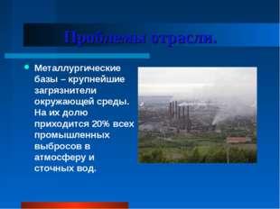 Проблемы отрасли. Металлургические базы – крупнейшие загрязнители окружающей