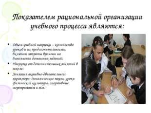 Показателем рациональной организации учебного процесса являются: Объем учебно