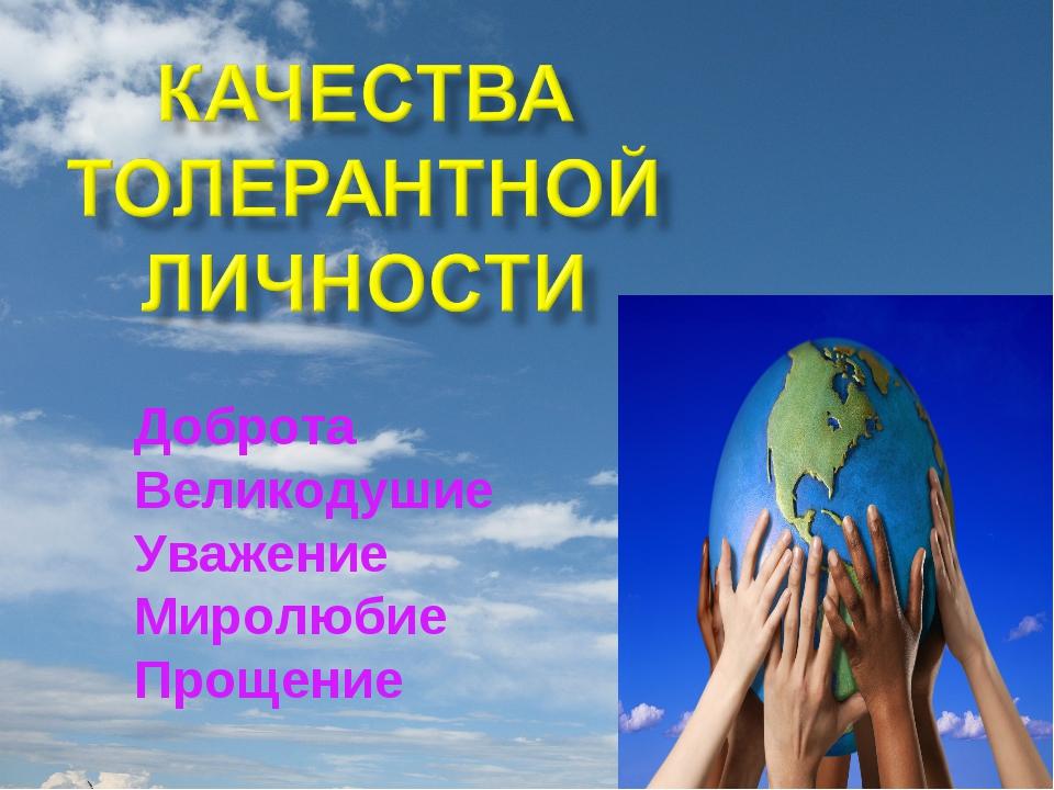 Доброта Великодушие Уважение Миролюбие Прощение
