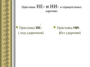 Приставки НЕ- и НИ- в отрицательных наречиях Приставка НЕ- ( под ударением) П
