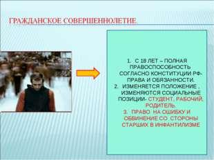 С 18 ЛЕТ – ПОЛНАЯ ПРАВОСПОСОБНОСТЬ СОГЛАСНО КОНСТИТУЦИИ РФ- ПРАВА И ОБЯЗАННОС