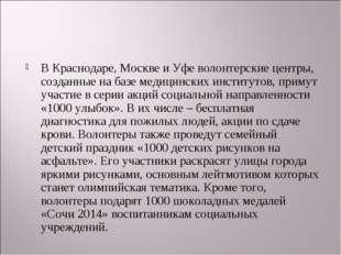 В Краснодаре, Москве и Уфе волонтерские центры, созданные на базе медицинских