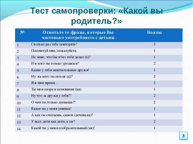 Тест самопроверки: «Какой вы родитель?» №Отметьте те фразы, которые Вы часте...