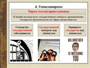 4. Тоталитаризм Черты тоталитарного режима 4. Крайне высокая роль государстве