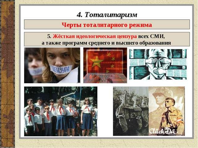 4. Тоталитаризм Черты тоталитарного режима 5. Жёсткая идеологическая цензура...