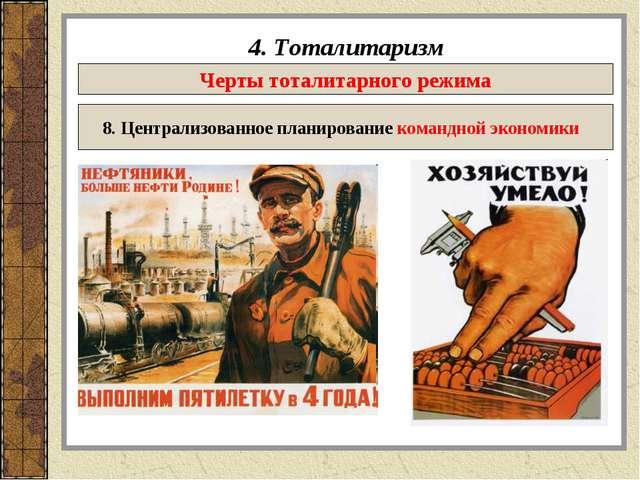 4. Тоталитаризм Черты тоталитарного режима 8. Централизованное планирование к...