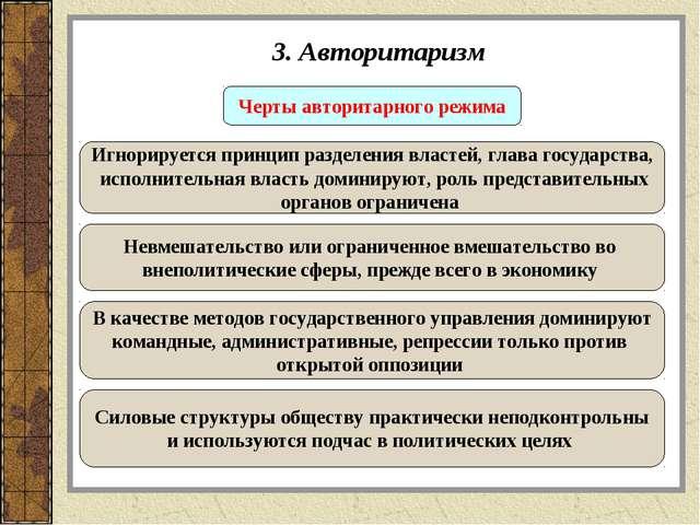 3. Авторитаризм Черты авторитарного режима Игнорируется принцип разделения вл...