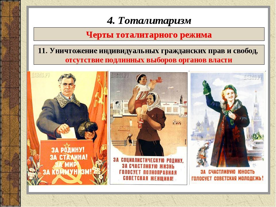 4. Тоталитаризм Черты тоталитарного режима 11. Уничтожение индивидуальных гра...