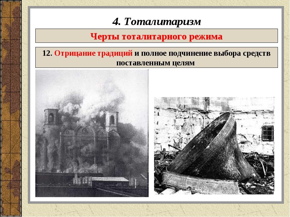 4. Тоталитаризм Черты тоталитарного режима 12. Отрицание традиций и полное по...