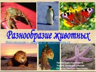 Зоология – наука о животных. Презентацию подготовила Учитель начальных классо