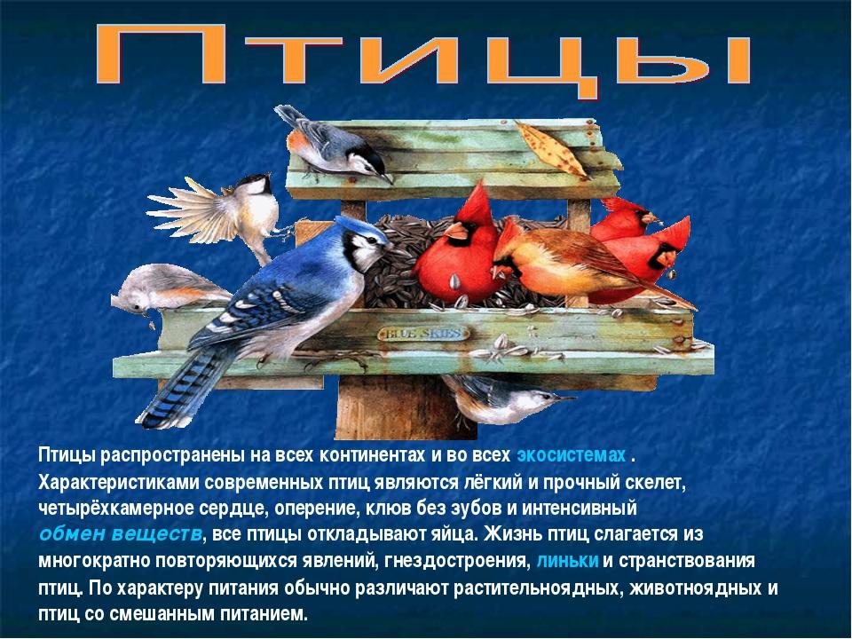 Птицы распространены на всех континентах и во всех экосистемах . Характеристи...