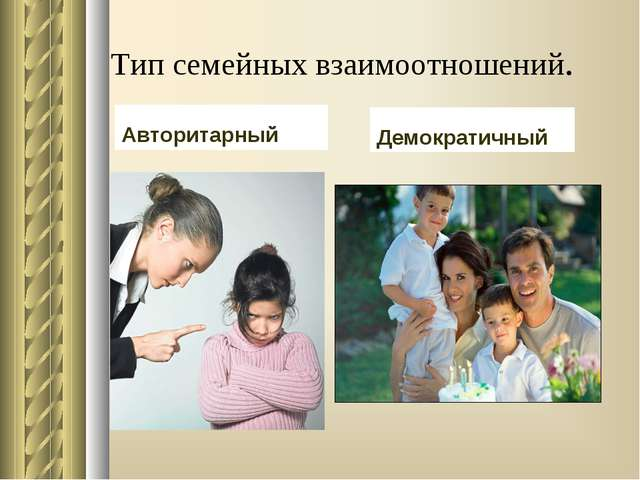 Тип семейных взаимоотношений. Авторитарный Демократичный