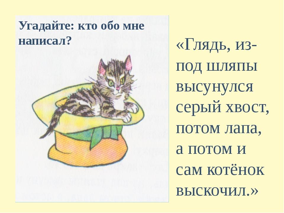 «Глядь, из-под шляпы высунулся серый хвост, потом лапа, а потом и сам котёнок...