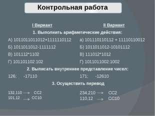 Контрольная работа IВариант IIВариант 1. Выполнить арифметические действия:
