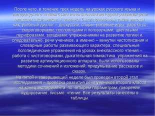 После чего, в течение трех недель на уроках русского языка и литературного чт