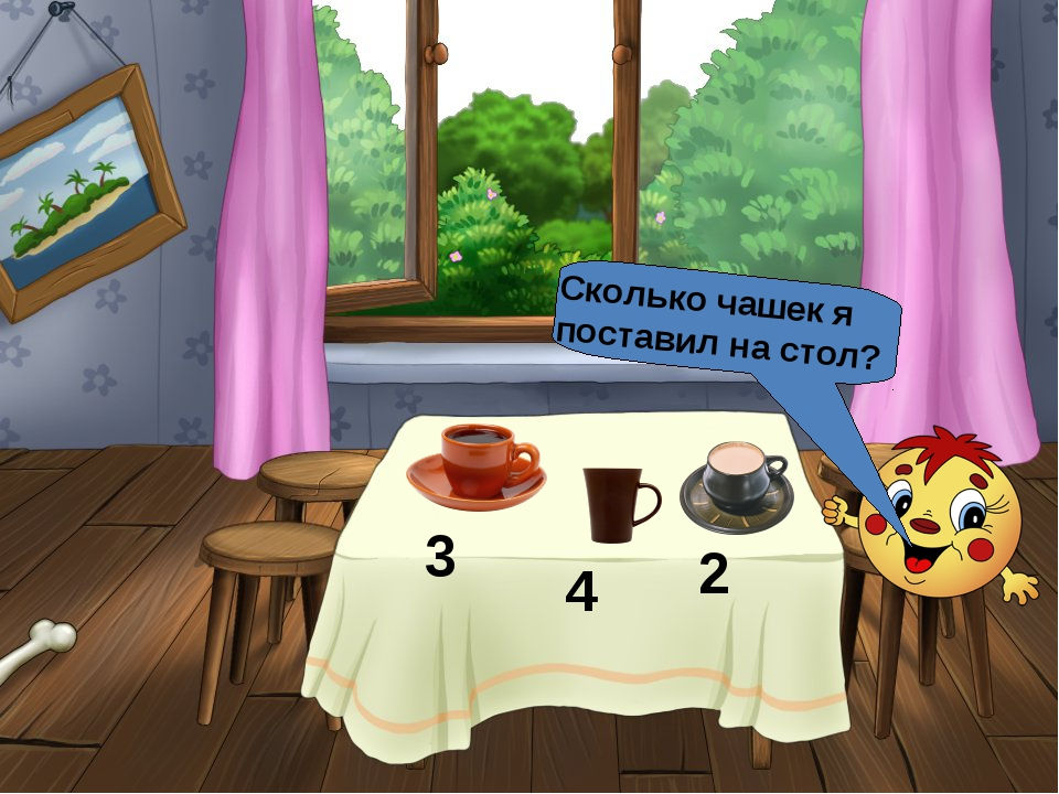 Сколько чашек я поставил на стол?