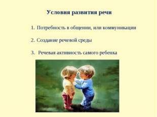 Условия развития речи Потребность в общении, или коммуникации Создание речево