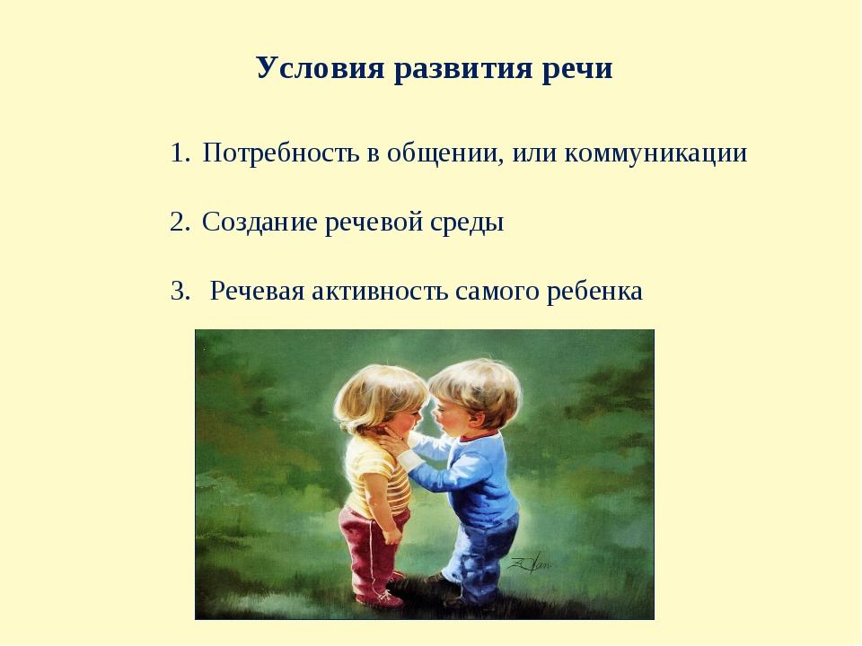 Условия развития речи Потребность в общении, или коммуникации Создание речево...