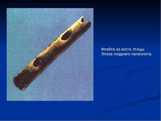 Флейта из кости птицы. Эпоха позднего палеолита.