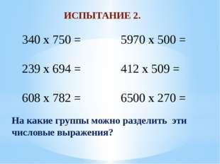 ИСПЫТАНИЕ 2. 340 x 750 = 239 x 694 = 608 x 782 = 5970 x 500 = 412 x 509 = 650